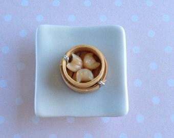 Dollhouse Miniature  Food 1/12 Scale Yum Cha Prawn Dumplings in steam basket