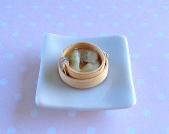 Dollhouse Miniature Food 1/12 Scale Yum Cha Vegetable Dumpling in Steam Basket