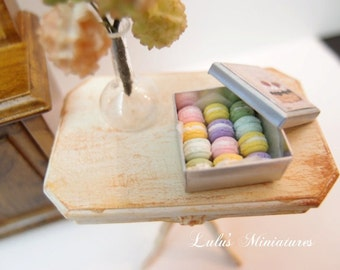 Dollhouse Miniature Assorted Macarons in Tin Box in 1/12 Scale