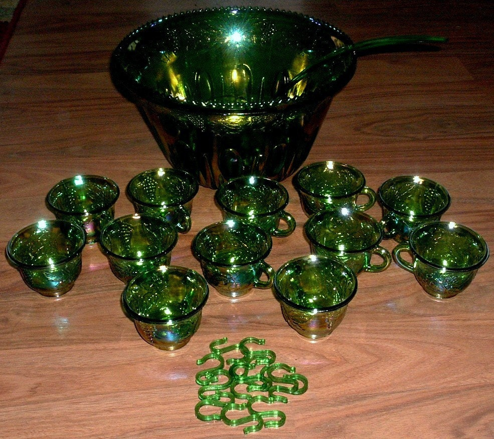 Vintage green indiana carnival glass punch bowl by rubyinthesky
