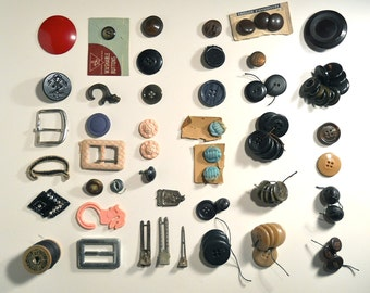Vintage Buttons Collection and Sewing Notions