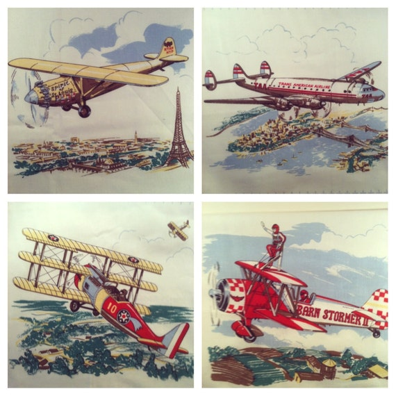 Vintage airplane art fabric - Vintage airplane triptych ...