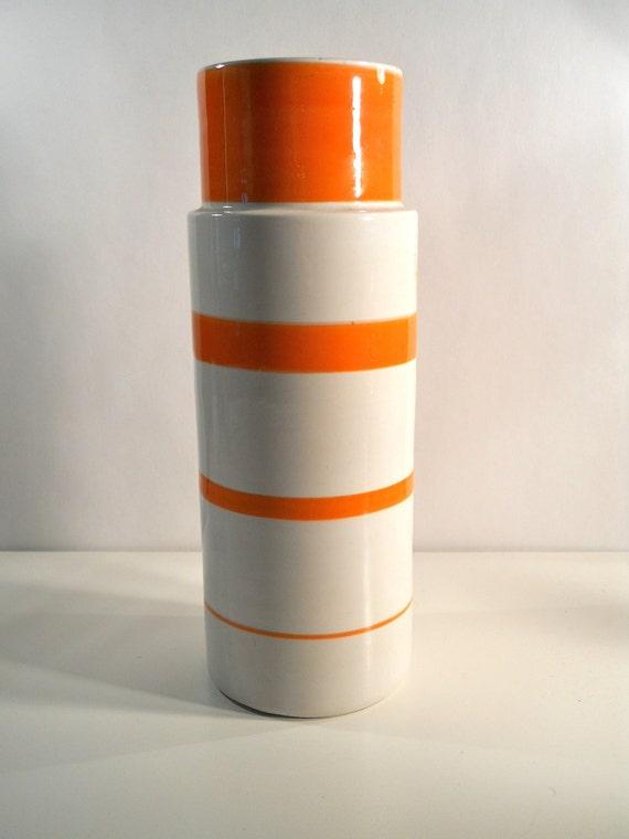 Raymor Striped Mancioli Vase, Orange White Monumental Made in Italy