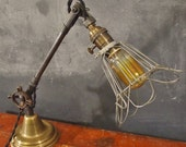 Vintage Industrial Desk Lamp - Machine Age Task Cage Light - Cast Iron - Steampunk