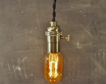 Vintage Minimalist Industrial Bare Bulb Light Socket - Pendant Lamp, Black Cloth Cord