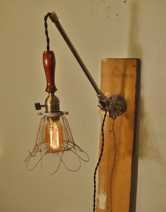 Vintage Industrial Cage Light Sconce - Machine Age Minimalist Pendant Trouble Lamp w/ Mounting Arm