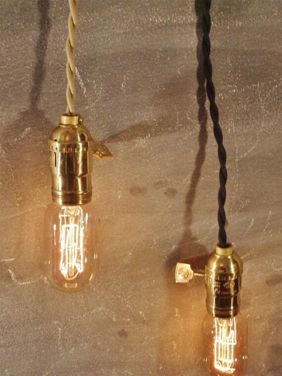Vintage Minimalist Industrial Bare Bulb Light Sockets - Pendant Lamp, Cloth Cord