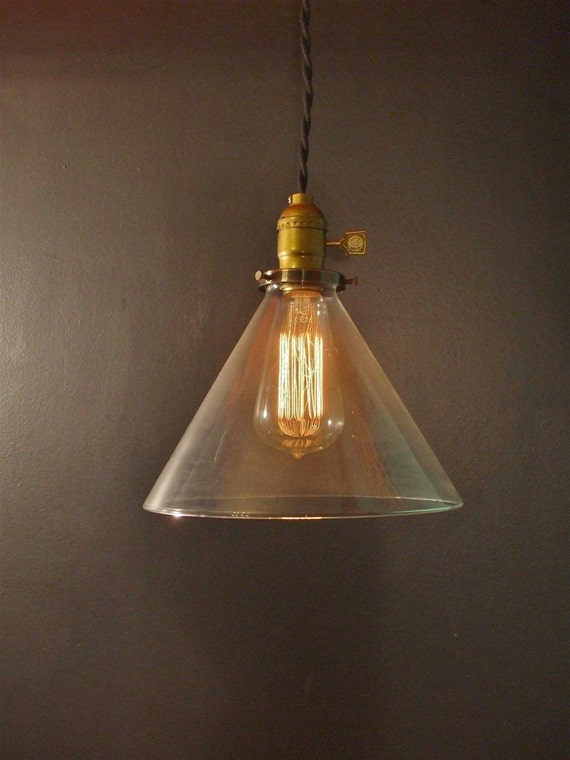 Vintage Industrial Hanging Light with Glass Cone Shade - Machine Age Minimalist Bare Bulb Pendant Lamp