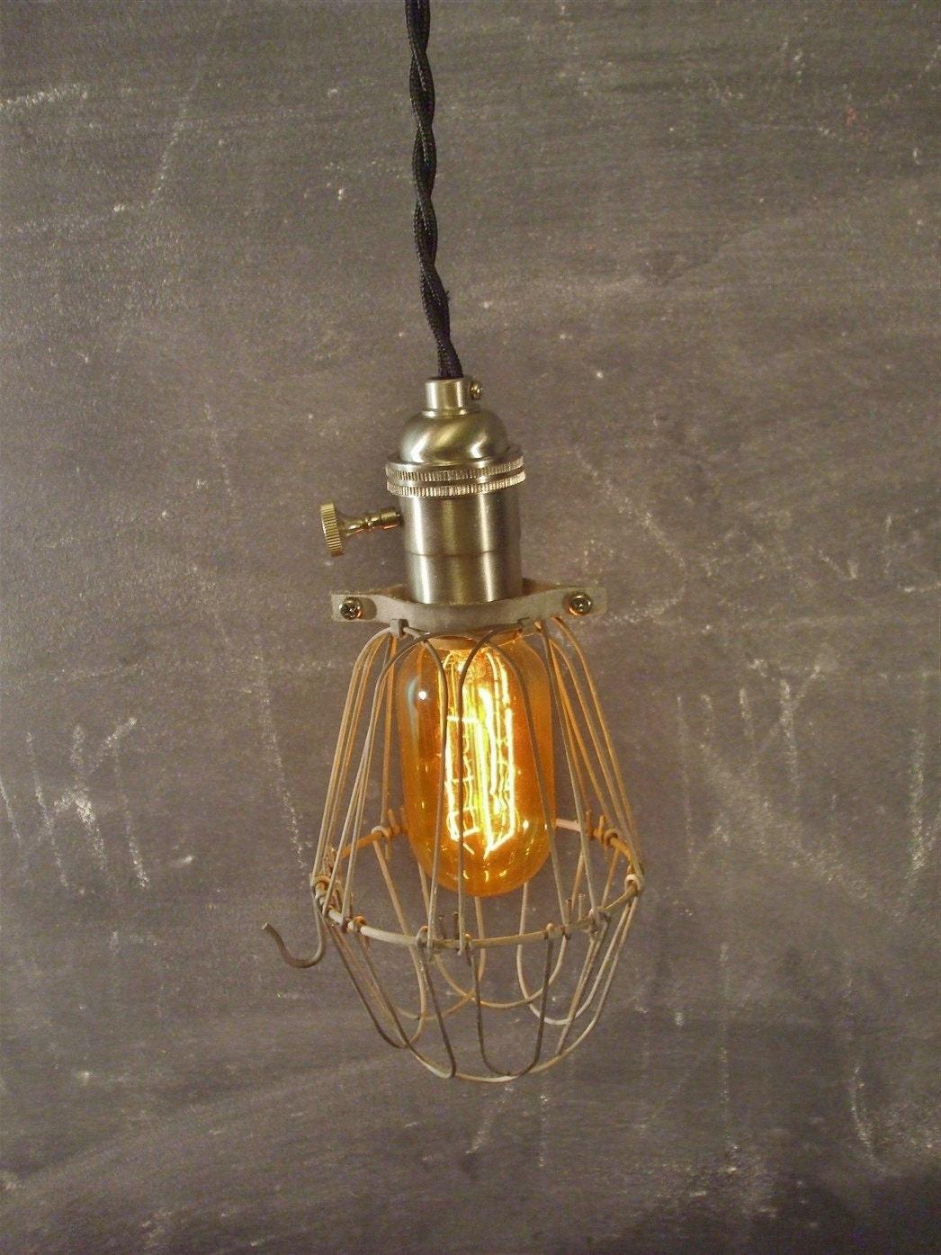vintage industrial style cage light machine age minimalist pendant lamp industrial lighting. Black Bedroom Furniture Sets. Home Design Ideas