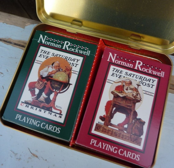 DOUBLE Deck SANTAS by Norman Rockwell Nostalgic Christmas Playing Cards