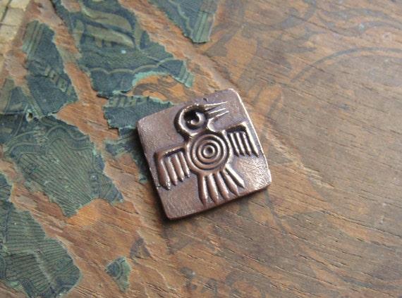 Artisan Handmade Copper Thunderbird Pendant, Rustic Handcrafted