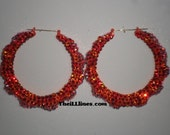 Swarovski Crystal Bamboo Hoop Earrings - Creamsicles -  Half Off Edition