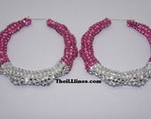 Rose Pink Swarovski Crystal Bamboo Earrings Half Off Edition