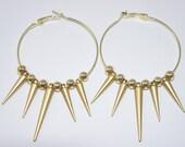 Gold Spike Hoop Earrings