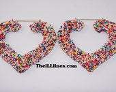 3 1/2 inch Candy Sprinkle Heart Earrings   High Quality