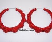 Swarovski Crystal Bamboo Hoop Earrings - Candy Apple amd 1 gold 3 inch pair
