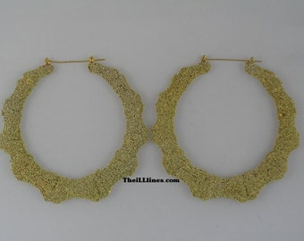 Ice Cream Collection Bamboo Hoop Earrings Gold  Buy 1 Get 1 Free