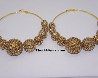 Gold Swarovski Crystal Basketball Wives Inspired Hoop Earrings Kit
