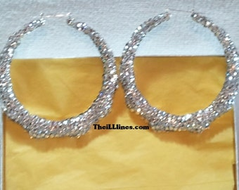 Swarovski Crystal Bamboo Earrings 3 1/2 inch