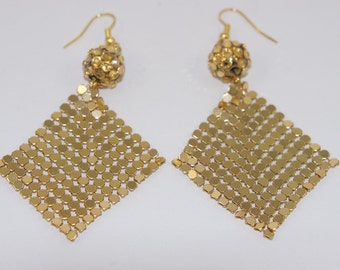 Gold Chainmaille Bead Earrings  Buy Any 2 Sale Items Get 2 Free