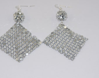 Silver Chainmaille Bead Earrings