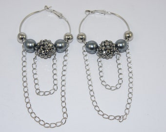 Black Diamond  Bead Chain Hoop Earrings