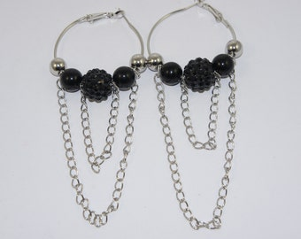 Black Bead Chain Hoop Earrings