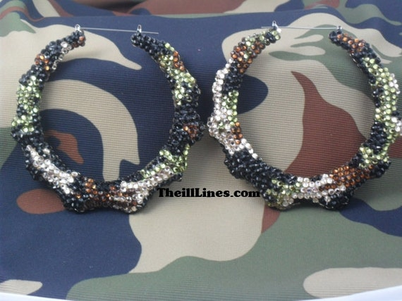 Swarovski Couture Crystal Bamboo Hoop Earrings  Army Fatigue Design