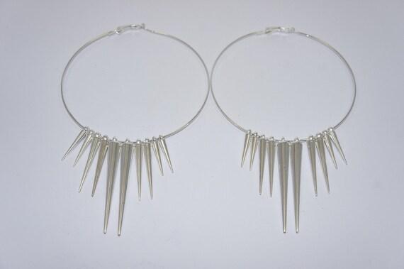 Large Plain Silver Spike Hoop Earrings