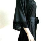 Silk Satin Kimono Robe and matching Lace - HANDMADE TO ORDER Short Kimono Gift for Her Bridesmaid Robes Wedding Robes