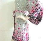 Silk Satin Kimono Robe in Floral Design Short Kimono Gift for Her Bridesmaid Robes Wedding Robes Loungwear