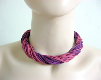 Silk Necklace in Pink and Purple