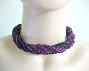 Silk Necklace in Purple and Navy Blue