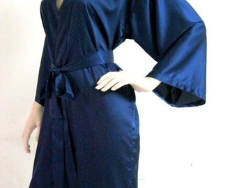 Silk Satin bridesmaid robe Navy robes bridesmaid dressing gown personalized robes silk bridesmaids robes floral robe kimono dressing gown