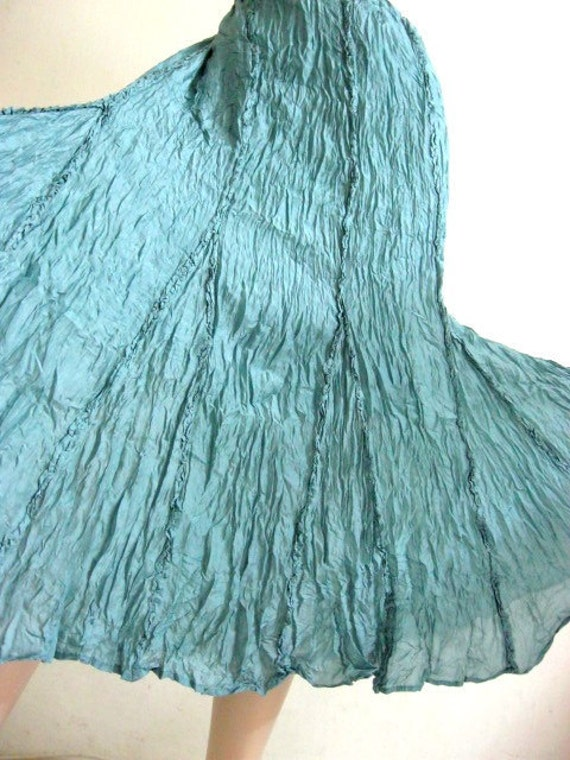 Silk Skirt Two Layers in Turquoise
