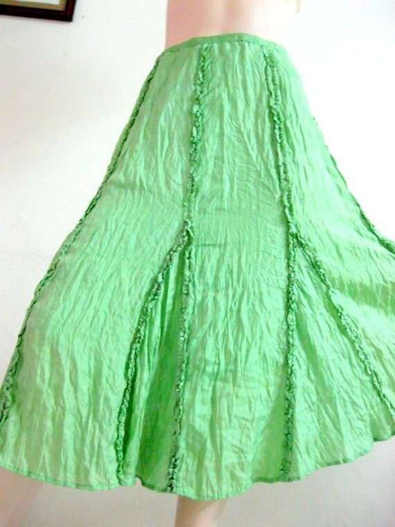 Silk Skirt Two Layers in Green