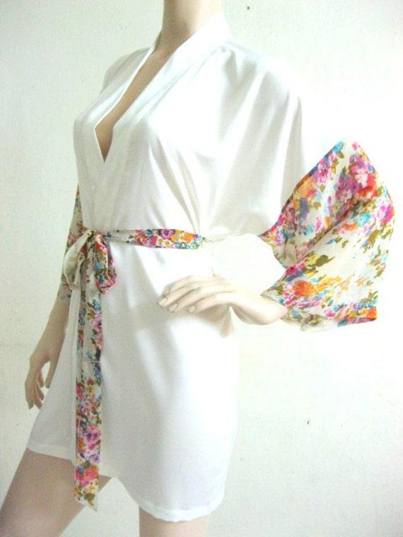 Silk Satin Kimono Robe in Ivory Floral Short Kimono Gift for Her Bridesmaid Robes Wedding Robes Loungwear