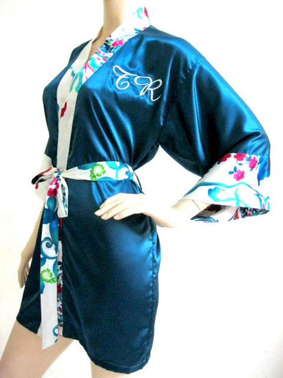 Silk Satin Kimono Robe in Teal  - Reserved Listing for Larry