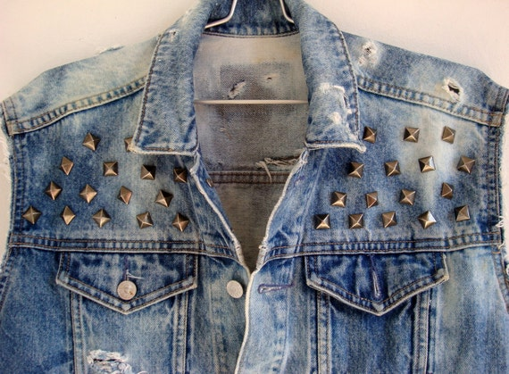 Vintage Denim Cut of Vest with black silver studs and bleach tie dyed size M FREE SHIPPING