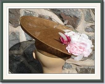 Vintage Hat Designer Khaki  with silk flowers