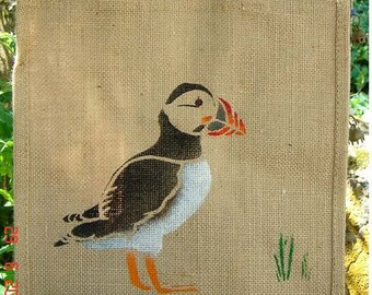Puffin bird hand painted jute eco shopping bag