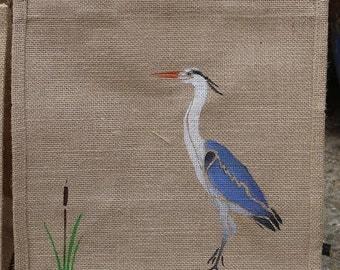 Heron bird hand painted jute eco shopping bag