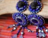 """Blue Sapphire and Black bead embroidered earrings """"Black Mops"""""""