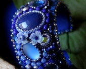 Embroidered bead cuff sapphire blue bracelet.