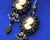 Romantic Black Cameo embroidered earrings
