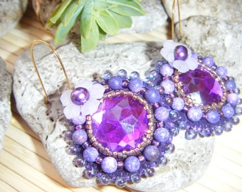 Round purple embroidered earrings