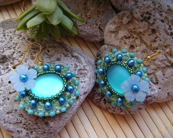 Oval teal, aqua green and lime embroidered earrings