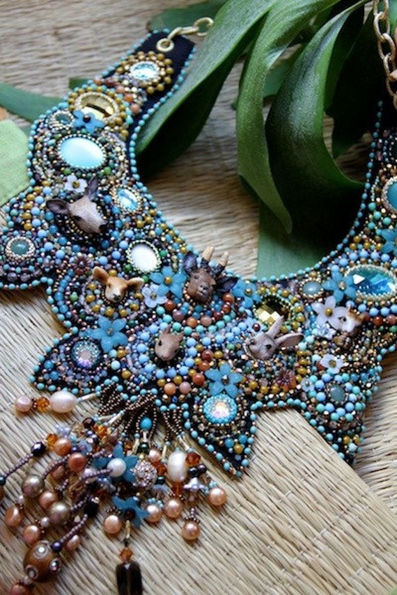 Little creatures of the wood beaded collar.