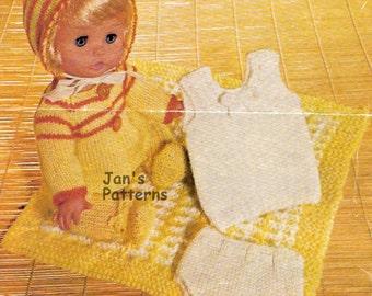 Knitting pattern baby doll full set 150  12 to 14 inch doll.