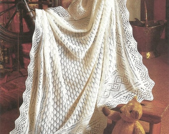 PDF Knitting pattern Peter pan baby lacy shawl.
